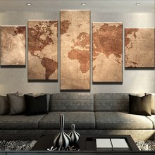 Framework Wall Print Art Poster HD Modern Abstract Home Decoration 5 Panel Old Map Living Room Canvas Modular Pictures Painting(China)