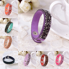 Sale New 1Pc Women Fashion Personality Exaggerated Slake Crystal Wrap Wide Leather Bracelets Jewelry 18 Colors(China)