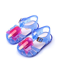 2017 Colorful Mini Melissa Popsicle High Quality Kid's Sandals Soft Leather Rain Boots Buckle Strap Charm Children Shoes