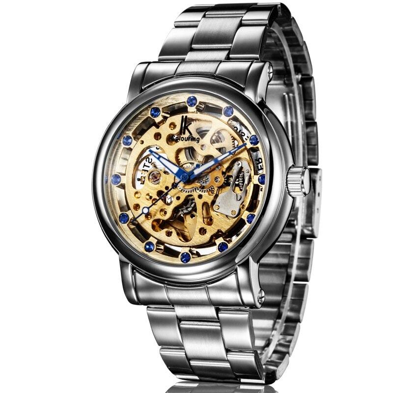 IK Men Luxury Steampunk Hollow Automatic Mechanical Black Silver Stainless Strap Watch<br><br>Aliexpress
