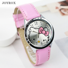 JOYROX Fashion Hello Kitty Pattern Women Watch Rhinestone Leather Strap Quartz Wristwatch Female Girls Clock relogio feminino(China)
