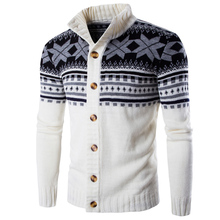 2017 New Fashion Winter Christmas Sweaters Men Cardigan Single Breasted Casual Slim Mens Sweaters With Snow Pattern Knitwear