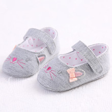 Baby Girls Kid Floral Crib Shoes Toddler Shoes Pre walker Cute Cartoon Kitten Soft Sole Breathable XUE04