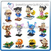 Mini Qute WTOYW LOZ Conan Stitch Popeye Astroboy Pixels plastic building blocks Anime cartoon model boys gifts educational toy