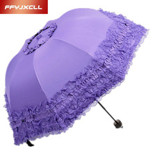 2017 Princess brand new creative folding umbrella sun umbrella vinyl lace parasol umbrellas arched UV shipping