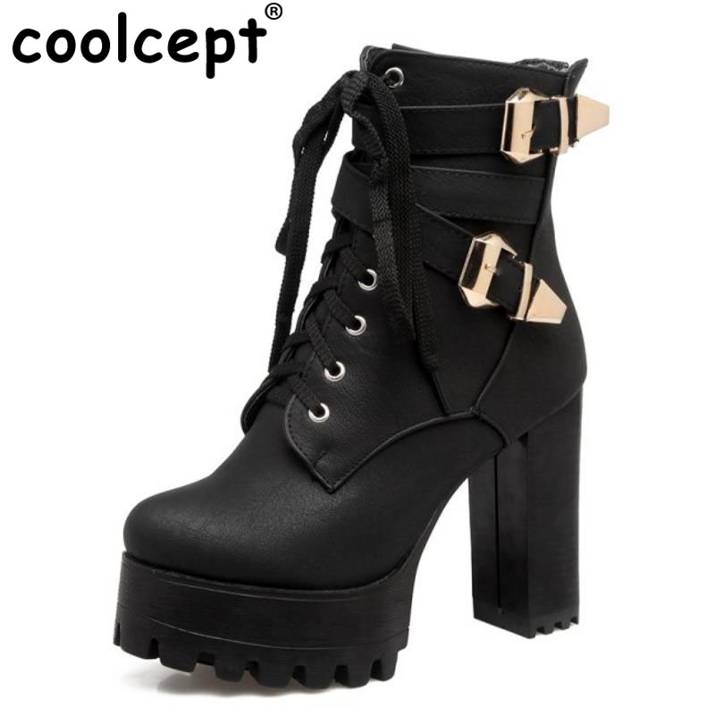 Coolcept Size 33-44 Ladies High Heel Boots Women Platform Round Toe Metal Buckle Thick Heels Boot Warm Winter Female Bota Mujer<br>