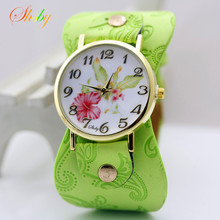 shsby New Arrival Printed leather Bracelet Wristwatch Wide band Dress Watch with flowers Fashion Women Casual Watch girl's gift(China)