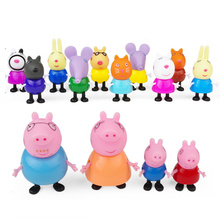 PVC Action Figures Pigeon Decorative Pink Pig Simulated Toy Piggy Toys Pepe Pond Sister One Four Peggy Set