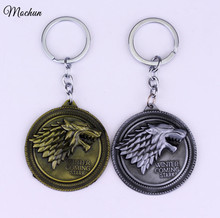 MQCHUN Game of Thrones Shield Round Coin Metal A Song of Ice and Fire Keychain Pendant Key Chain Chaveiro Key Ring 2017 Hot(China)