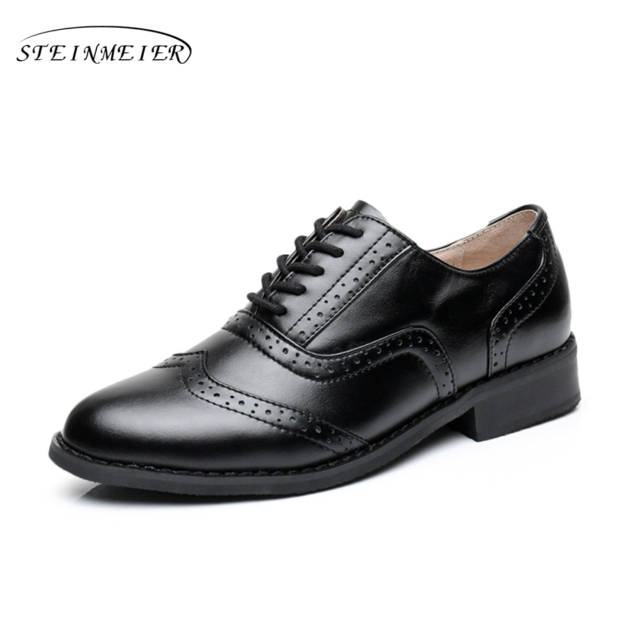 Women flats oxford shoes big size flat genuine leath vintage shoes round toe handmade black 2017 oxfords shoes for women<br>