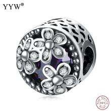 Jewelry Beads 925 Sterling Silver with Crystal Flat Round micro pave cubic zirconia & without troll & faceted & hollow(China)
