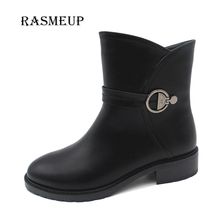 RASMEUP Fashion Black Zip Leather Ankle Boots Women Martin Boots Shoes Female Buckle Square Low Heel Boots Shoes
