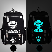 Anime One Piece Luffe Skull Marine Backpack Messenger Luminous Book Bag School Travel Bags Anime Gift(China)