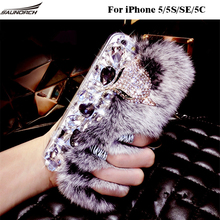 DIY Furry Back Cases Plush Diamond Bling Fashion Decoration Crystal Rex Rabbit Fur Cover Shell Covers Bag For iPhone 5/5S/SE/5C(China)