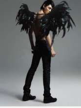 Black angel wings handmade black feather wings top quality cosplay angel wings free shipping