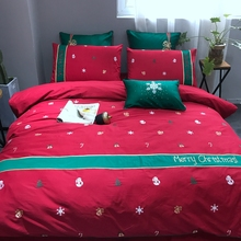 100% Cotton Winter Sanding Duvet Cover Set Queen King Size Red Christmas Trees Duvet Cover Solid Color Bed Sheet Pillow Case