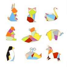 1pcs Origami Animal Pins Button Rabbit Swan Whale Fox Squirrel Horse Penguin Brooch Jacket Collar Lapel Pins Badge Jewelry(China)