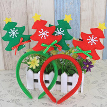 Fashion Kids Girl Boy Christmas Tree Design Headband Hairband Party Hat Costume Xmas Gift Red&Green