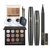 7pcs Makeup Set 15 Colors Eyeshadow Palette 3 Colors Eyebrow Eyeliner Pencil 2pcs Mascara Cream Eyeliner With Brush Makeup Kit