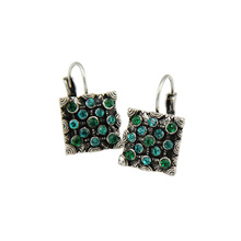 Newest Classic Trendy Vintage Silver Color Blue Magic Green Crystal Square Statement Drop Earring For Women Fashion Jewelry 2017(China)