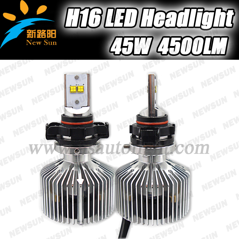 4500LM Super bright H16 5202 Car LED Headlight 45W car headlamp bulb kit 6000K white H16 led headlights brighter than HID xenon<br><br>Aliexpress
