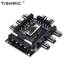TISHRIC PC 1 to 8 4Pin Molex Cooler Cooling Fan Hub Splitter Cable PWM 3Pin Power Supply Speed Controller Adapter For PC Mining(China)