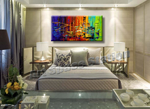 Modern Abstract NEW YORK CITYSCAPE Oil Painting City Hand-painted on Canvas,CITY RUSH palette knife canvas wall art home decors