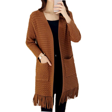 Women's knitting Tassel Sweaters and Cardigans Female Medium-Long Band Sweater Loose Cashmere Knitted Cardigan