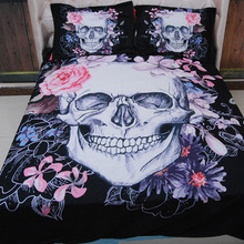 Wongs Bedding 3D Skull Bedding Set Black Skull Pink Floral Pattern Duvet Cover Sets Twin/Queen/King Size 3PCS Beddings