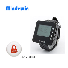 Mindewin Wireless Calling System for Restaurant Waiter Service Call Bell 10 Pieces Call Buttons and 1 Piece Wrist Watch Pager