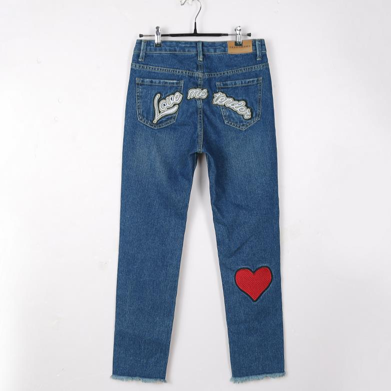 2017 spring fashion women all-match letter applique embroidery love letters blue denim  female casual straight jeans s192Одежда и ак�е��уары<br><br><br>Aliexpress