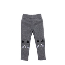Top Selling 2-7Y Baby Girl Cute Cat Print Pants Kid Warm Stretch Leggings Spring Autumn Children Trousers