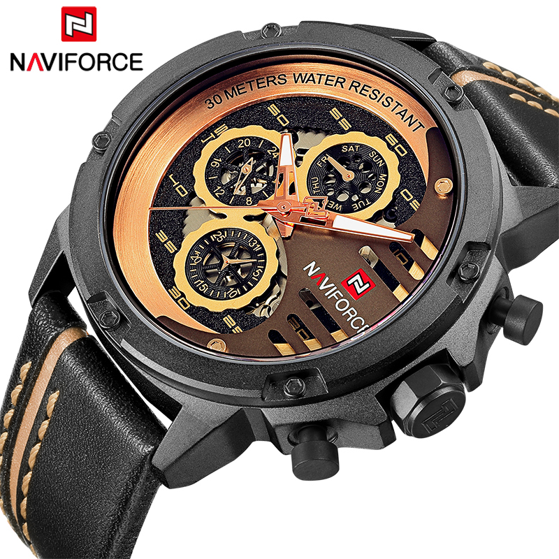Luxury Brand NAVIFORCE Fashion Mens Quartz Sports Watches Man Leather Hollow Face 24 Hour Date Clock Men Waterproof Wrist watch<br>