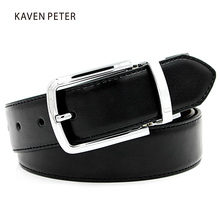 Original Feather Belts For Trousers Men Belt Alloy Buckle Straps Waistband Reversible Pin Buckle Cowhide Genuine Leather Belt(China)