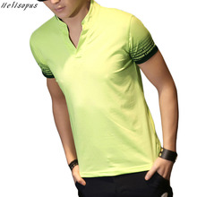 Helisopus 2017 Summer T-shirt Men V Collar Short Sleeved Polo Shirt Male Cotton Solid Color Casual Tees Korean Style 5 Colors
