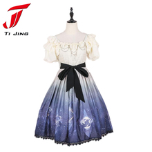 JSK Lolita Japanese Dress women kawaii summer puff sleeve princess cos Fancy Dolly Nice Lace 2017 necklace Dresses B4840(China)