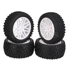 Mxfans 4x White Front Rear Wheel Rim Rubber Tyre Tires for RC 1:10 Off-Road(China)