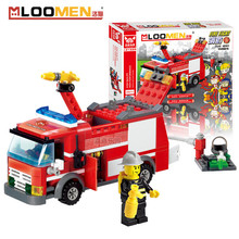 MLOOMEN 206pcs Fire Truck Building Blocks Toys ABS Small Particles DIY Educational Toy Sets for Children Best for Kids Boys Gift