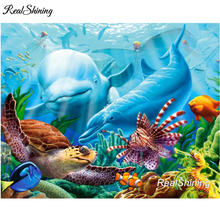 REALSHINING 3D Diy Full Square Diamond Embroidery Turtle Dolphin Needlework Cross Stitch Diamond Painting Wall Deocr DM688