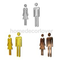 Toilet Door Sign Men & Women WC Decals Stickers Restroom Washroom Signage Plaque Mirror Surface