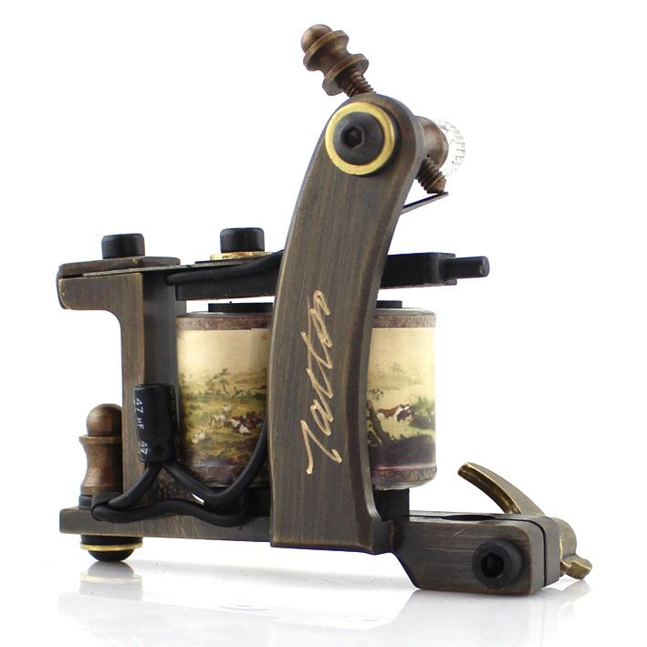 HANDMADE copper Tattoo Machine 12 coils ETM05123 beautifully carved Shader tattoo gun<br><br>Aliexpress