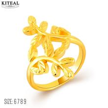 Hot New Fashion 24k gold color wedding rings tree of life leaf finger ring size 6 7 8 9 anillos wedding decoration(China)