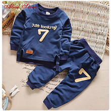 Free 2-6 Autumn Children Clothing Sets Boys Girls Warm Long Sleeve Sweaters+Pants Fashion Kids Clothes Sports Suit Girls