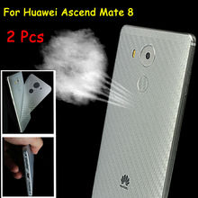 2 Pcs 3D Anti-fingerprint Full Cover Clear Carbon Fiber Back Screen Protector Film Wrap Skin Stickers For Huawei Ascend Mate 8