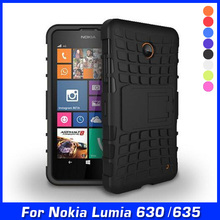 Luxury Hybrid Shock Proof Silicone + Hard Shell Cell Phone Case Cover For Nokia Lumia 630 635 Dual Sim Case Back Cover With Gift