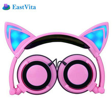 EastVita Kids Flashing Glowing Cat Ear Headphones Gaming Headset Earphone with LED light For PC Laptop Computer Cell Phone KTE02