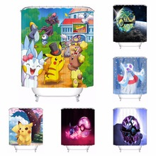 Custom Pokemon Pikachu Bathroom Acceptable Shower Curtain Polyester Fabric Bathroom Curtain #180318-37-11