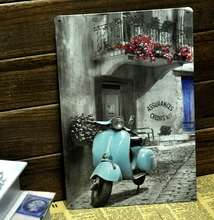 [ Mike86 ] Vintage Blue motorcylce Metal signs wall decor Office Bar Metal Painting art B-138 Mix order 20*30 CM(China)
