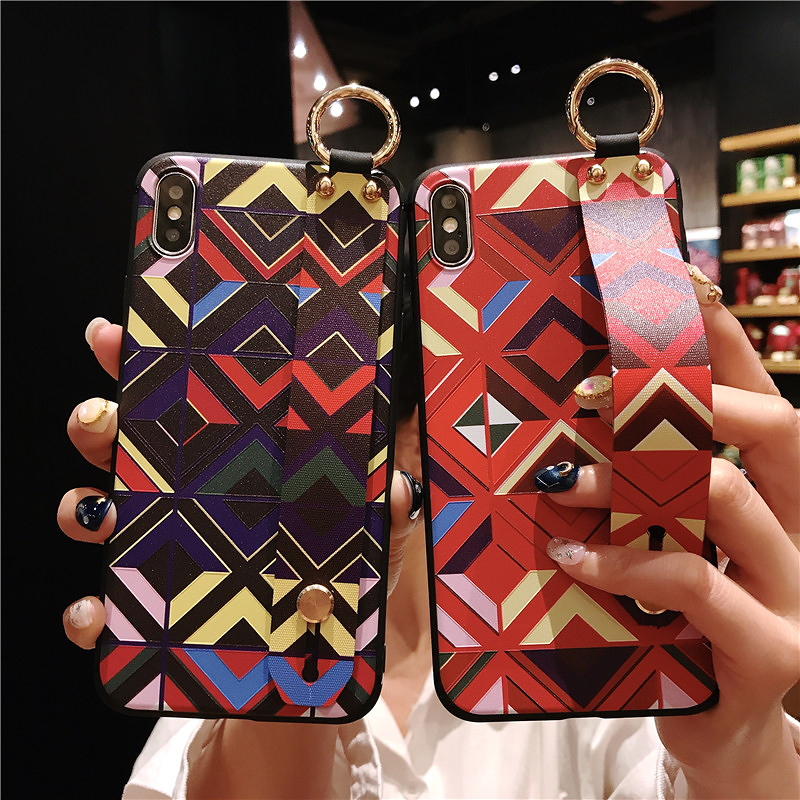 2 SoCouple Retro Grid Pattern Wrist Strap Phone Case For iphone 7 8 6 6s plus Case For iphone X Xs max XR Soft Silicone Case