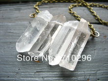 Natural Clear Quartz Point Crystal point gem stone Necklace 5pcs/lot(China)